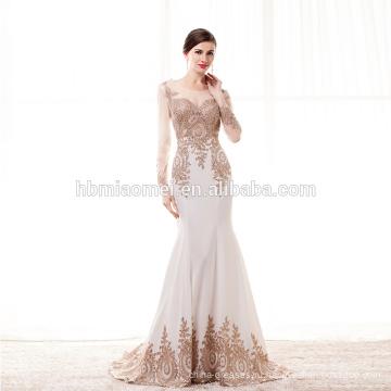 На заказ сексуальная формальное вечернее девушки платье с длинным рукавом милая Золотой вышивкой Русалка длинное вечернее платье 2017