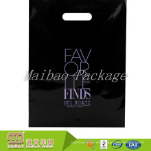 Compras Industrial Heavy Duty Customized Colored Logo Print Venta al por mayor Diecut Handle Ldpe Black Plastic Bags