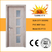 Glass Insert MDF Strips Wooden PVC Swing Door (SC-P112)