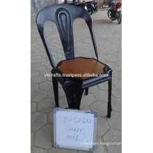 Vintage Metal Chair, Antique Design with wood seat