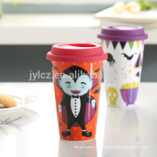 double wall beautiful sublimation ceramic travel mugs with silicone lid