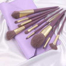 Ensemble de pinceaux de maquillage à manche en bois violet 9pcs