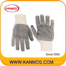 Industrial de seguridad Poliéster de algodón de PVC punteado guantes de trabajo de punto (61004TC)