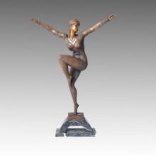Танцовщица Бронзовая скульптура Современная женская отделка Статуя из латуни TPE-173
