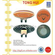 Clipe de chapéu de golfe de esmalte macio com marcador de bola e revestimento de epóxi