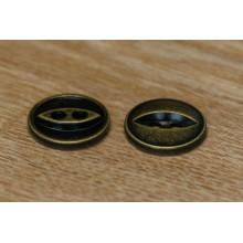 Botón de metal de costura hecho a medida oval para prendas de vestir, bolsas