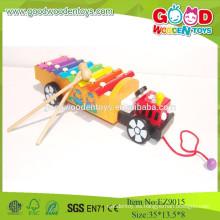 2015 Xilófono de madera popular vendedor caliente del tirón del carro de la música, instrumento musical colorido de los juguetes