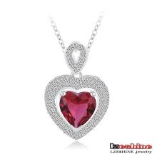 Collier de mariage en forme de coeur Ruby en laiton argenté (CNL0212-B)