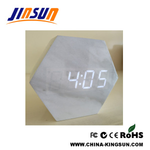 Hexagonal Marble Wooden Alarm LED Clock