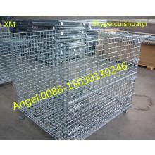 Recipiente galvanizado empilhável e dobrável da rede de arame da gaiola do armazenamento de Galanvized