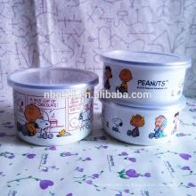 3 Stück Emaille Eisschüssel mit niedlichen Hund pattren