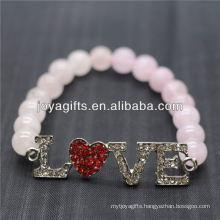 Wholesale Diamante Love Logo With 8MM Semi Precious Stone Stretch Bracelet