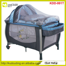 Wholesale NEW Baby Play yard Manufacturer NEW Design Playpen with Canopy/Mosquito net/Storage Shelf/Diaper Changer