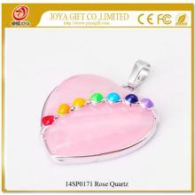 Seven Chakras Crystal Rose Quartz Heart Pendant