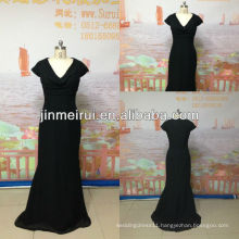 Real photo!Formal v neck long chiffon court train women evening dress black JED080
