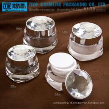 Série YJ-TA 30g 50g diamante boião de creme acrílico frascos de embalagens de cosméticos