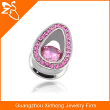 stainless steel ear gauge body jewelry cheap piercing jewelry with pink zircon
