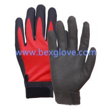 Polyester / Spandex-Liner, Nitril-Beschichtung, Sand-Finish, Manschette mit Klettverschluss