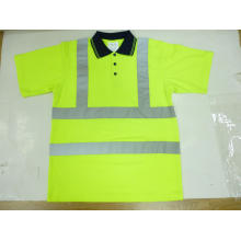 Reflective Polo Shirt with High Luster Tape, Bird Eye Fabric