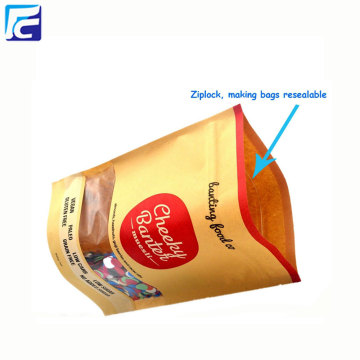 Food grade kraft paper bag with zip lock