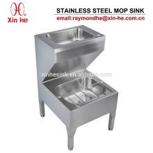 Unidade de limpeza de aço inoxidável com a bacia de lavagem da mão, dissipador de aço inoxidável do líquido de limpeza do dissipador do dissipador da cubeta para sanitário comercial