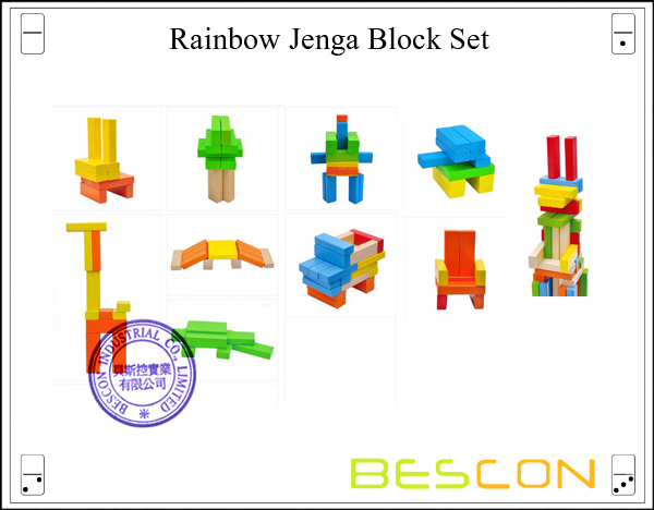 Rainbow Jenga Block Set