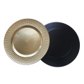 Gold Round Dot Pattern Plastic Charger Plate