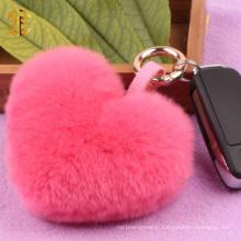 Rex Coiffe Fur Keychain Fourrure Coeur Pompom Keychain Porte-clés Porte-clés