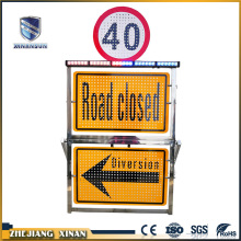 solar arrow steel traffic barriers light warning board