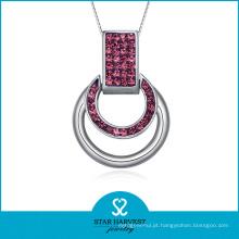 Encantadora decoração de natal charme colar de prata para senhoras (n-0137)