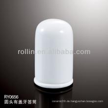 Gesunder, langlebiger weißer Porzellan-Ofen sicherer Zahnstocherhalter mit Deckel