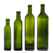 Wholesale Customization Empty Square Dark Green Cooking Olive Oil Glass Bottle