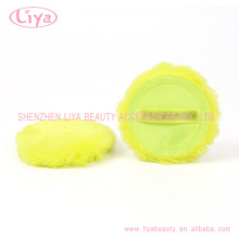 Green Plush Cosmetic Puff With Logo Accepted