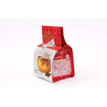 Flat Bottom Stand Up Red Coffee Packaging Bags With Tear No