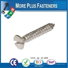 Fabricado em Taiwan Slotted Countersunk Head Tapping Screws DIN 7972 Gauge Slotted CSK Self Tapper DIN 7972 Aço inoxidável DIN 7972
