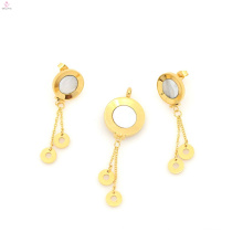New design stainless steel locket & gold plate earring jewelry set