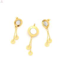 Novo design de aço inoxidável medalhão e placa de ouro brinco conjunto de jóias