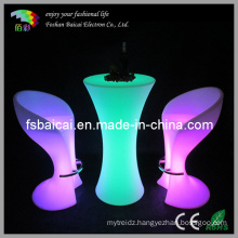 Indoor/Outdoor Glowing LED Tall Bar Table with Glass