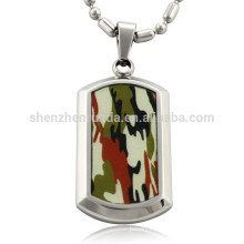Wholesale Fashion Camouflage Patten with Stainless Steel Blank Pendant Dog Tag Pendants Necklaces Jewelry