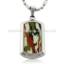 Atacado moda camuflagem patten com aço inoxidável em branco pingente cão tag pingentes jóias colares