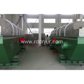 Vibrating fluid bed drier for cooling raw material