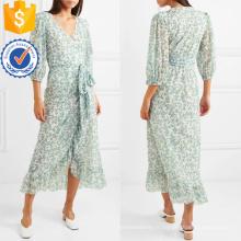 Floral-Print Mesh Wrap V-cou robe de manches trois-quarts de longueur Fabrication de mode en gros femmes vêtements (TA0275D)