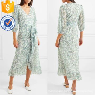 Floral-Print Mesh Wrap V-Neck Three Quarter Length Sleeve Dress Manufacture Wholesale Fashion Women Apparel (TA0275D)