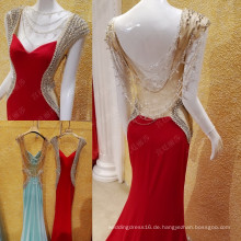Freies Verschiffen-rotes Meerjungfrau-Abend-Kleid 2016 reale Beispiel-handgemachter wulstiger glänzender Kristallrhinestone Vestido De Festa Longo ML180