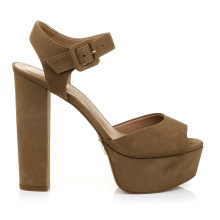 Woman Gender and Rubber Outsole Material ladies flat high heel sandal with soft soles