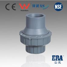 PVC Single Union Check Valve Socket with DIN Bs JIS ANSI or Thread BSPT NPT