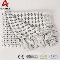 Mais popular impresso acrílico malha cobertor com borla