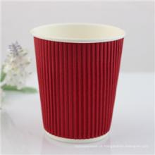 Copo de café dobro descartável quente do papel de parede 8oz bebendo