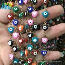 Heart Shape Turkey Evil Eye Chain Metal Wire Cuentas de Rosario Cadena