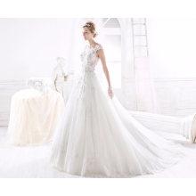 Laço 3D Flor Tulle Ball vestido de noiva